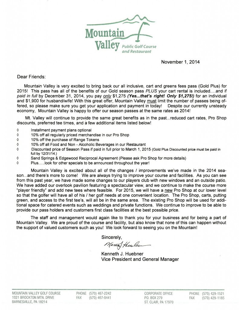 Pass holder cover letter - Mountain Valley Golf Course